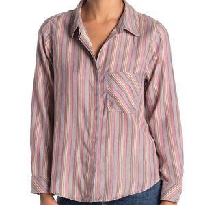 SUSINA Womens Long Sleeve Curved Hem Shirt